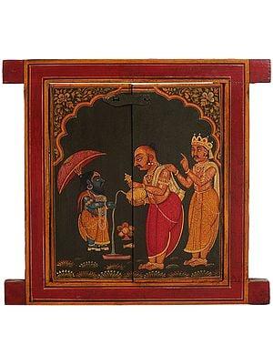 Jharokha (Window) Painted with King Bali Pledging Himself to Vamana Avatar of Vishnu