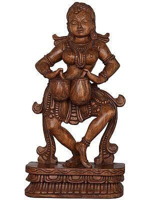 Apsara Dancing and Playing a Musical Instrument