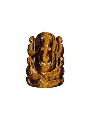 Small Ganesha Carved in Tiger Eye Gemstone