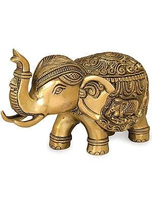 Finely Carved Elephant with Upraised Trunk (Auspicious According to Vastu)