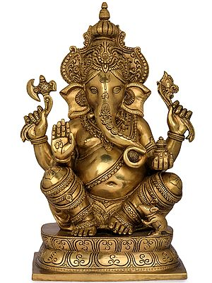 Blessing Ganesha Wearing a Majestic Crown