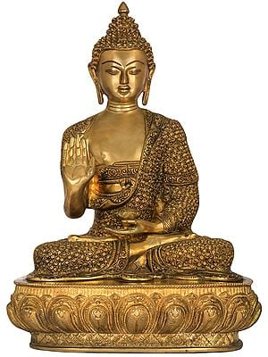 Blessing Buddha Wearing Fully Carved robe - Tibetan Buddhist