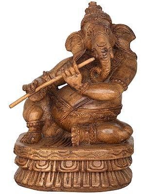 Musician Ganesha Playing Flute