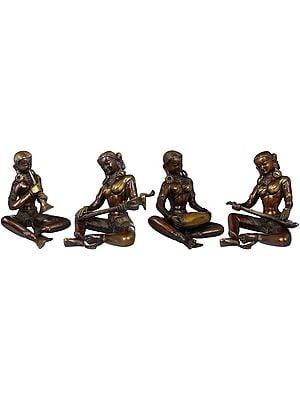 Folk Musicians, Set Of Four Female Figurines