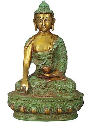 Lord Buddha Wearing a Dragon Carved Robe - Tibetan Buddhist