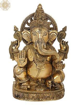 Fine Quality Chaturbhuja Blessing Ganesha