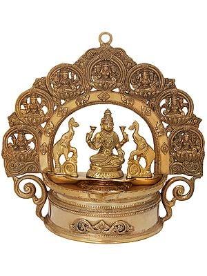 Very Auspicious Gajalakshmi Lamp with lakshmi ji Aureole