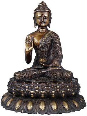 Vitarka Mudra Buddha Upon A Luxuriant Lotus Pedestal