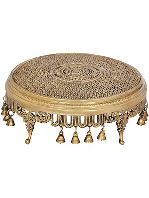 Flowers Engraved Circular Chowki with Bells - Fine Quality