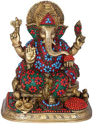 Lord Ganesha with Fine Quality Inlay Work