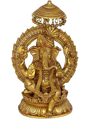 Pagdi Ganesha Seated on Lotus Throne with Parasol