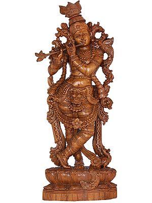 Floral Embellished Murli Krishna Carved in Teak Wood