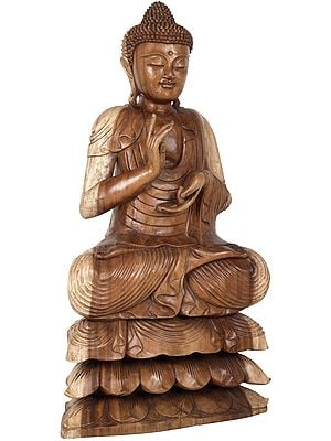 Dharmachakra Buddha With The Eyes Shut on Three-Layered Lotus