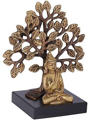 Bodhi Tree Buddha On A Wooden Pedestal