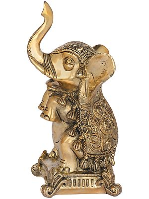 Elephant Seated on Hind Legs with Upraised Trunk (Vastu Compliant)