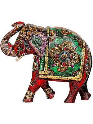 Colorfully Decorated Wooden Elephant with Upraised Trunk