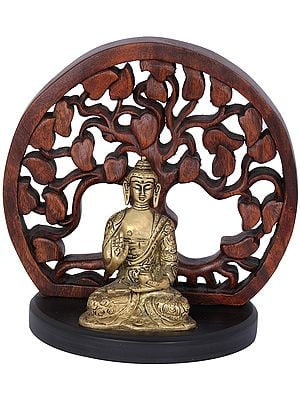 Seated Buddha Figurine With Wooden Bodhi Tree Aureole