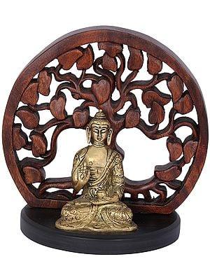 Seated Buddha Figurine With Wooden Bodhi Tree Aureole