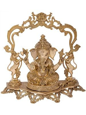 Superfine Bejewelled Ganesha on a Kirtimukha Topped Yali Throne