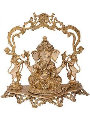 Superfine Bejewelled Ganesha on a Kirtimukha Topped Yali Throne