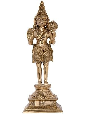 Blessing Hanuman Standing on a Tall Lotus Pedestal - Fine Quality