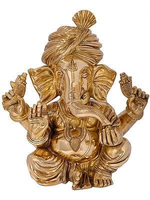 The Royal Grandeur of Turbaned Ganesha - Fine Quality