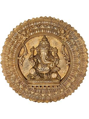Lord Ganesha Wall Hanging Lotus Plate