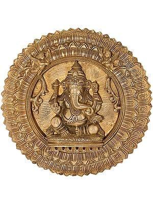 Lord Ganesha Wall Hanging Lotus Plate