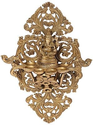 Ganesha-Parrot Lamp Against a Leaf-Like Groovy Backdrop (Wall Hanging)
