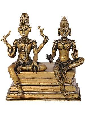 Lord Shiva as Pashupatinath with Goddess Parvati (Dhokra Art)