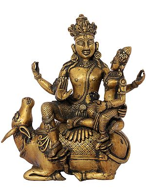 Shiva Parvati Seated on Nandi (Dhokra Art)