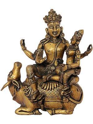 Shiva Parvati Seated on Nandi (Dhokra Art)
