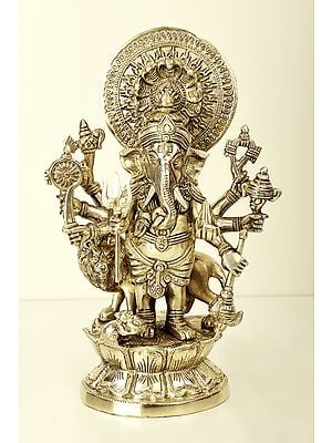 Ashtabhuja Simha Ganesha with Serpents Aureole