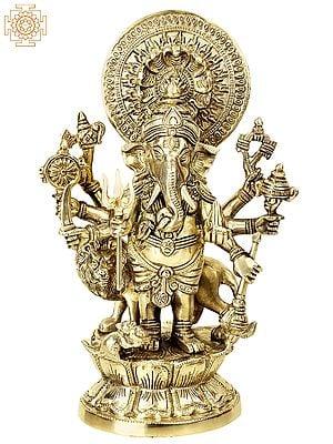 Ashtabhuja Simha Ganesha with Serpents Aureole