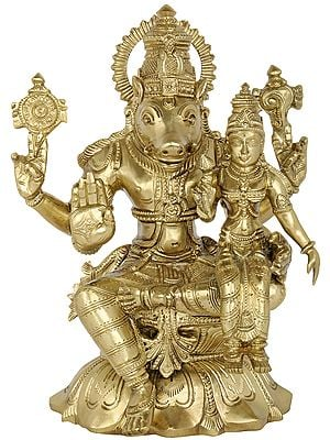 Bhagawan Varaha with Bhudevi (Hoysala Art)