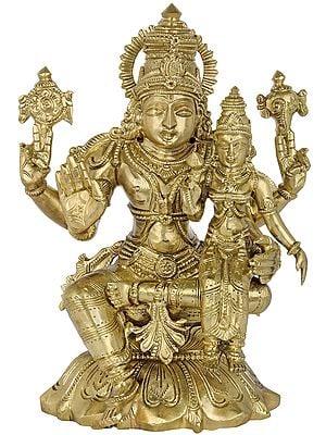 Lord Vishnu with Goddess Lakshmi Seated on Lotus (Hoysala Art)