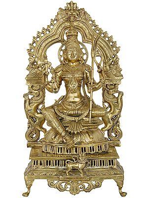 Goddess Rajarajeshwari (Tripura Sundari) -Fine Quality Hoysala Art Statue