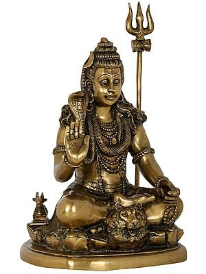 Seated Blessing Shiva with Nandi and Long Trident