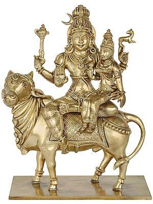 Lord Pashupatinatha And Devi Parvati Seated On Nandi