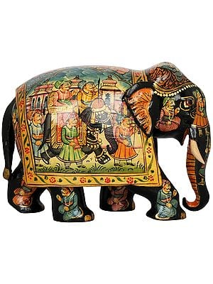 Wooden Elephant Decorated with Miniature Paintings