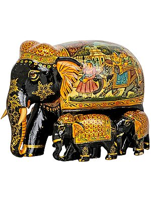 Elephant Family Decorated with Royal Paintings
