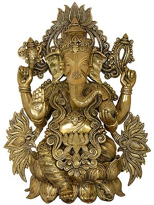 Seated Lord ganesha Surrounded By A Sea Of Lotuses