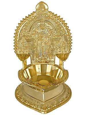 Kumara Karttikeya (Murugan) with Two Consorts Large Oil Lamp