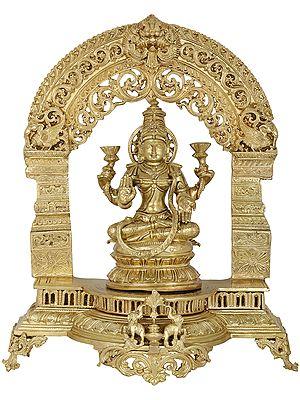 Goddess Lakshmi with Kirtimukha Throne (Hoysala Art)