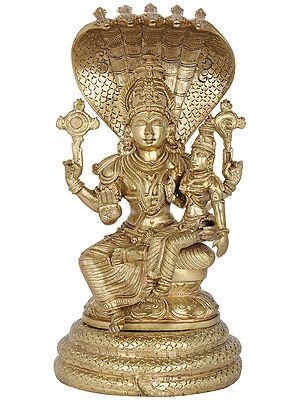 Lord Vishnu with Goddess Lakshmi Seated on Sheshanaga (Hoysala Art)