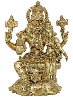 Superfine Lord Narasimha with Goddess Lakshmi (Hoysala Art)