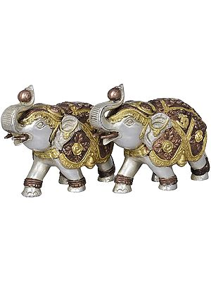 Decorated Upraised Trunk Elephant Pair (Vastu Compliant)