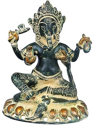 Chaturbhuja Lord Ganesha Seated on Lotus
