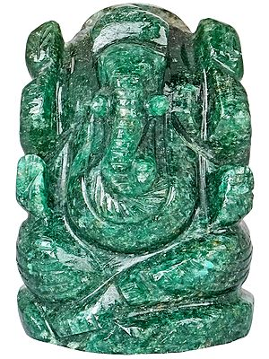 Small Malachite Chaturbhuja Lord Ganesha