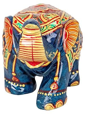 Small Decorated Elephant in Lapis Lazuli